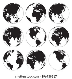 Vector globe earth icons on a white background