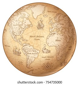 Vector Globe featuring a Vintage illustrated map of the World.