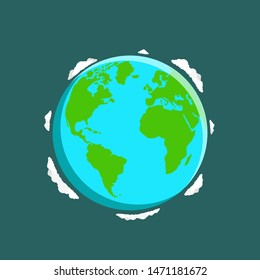 Vector globe icon of the world with clouds