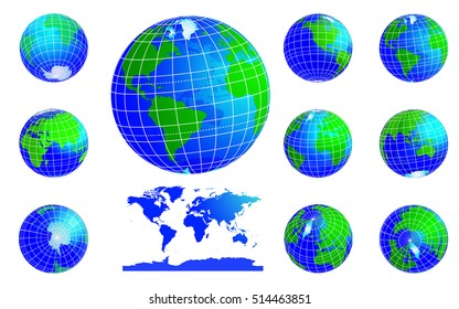 Vector globe icons showing Earth with all continents. Western and Eastern hemispheres. Set. Vector illustration isolated on white background
