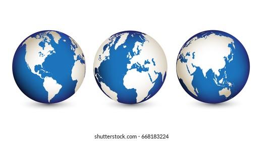 Vector globe icons.Earth globe maps.