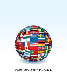 International flags globe images stock photos vectors shutterstock vector globe made from world flags eps8 illustration isolated on white background freerunsca Image collections