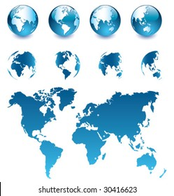 Vector Globe and Map of the World [set 1]