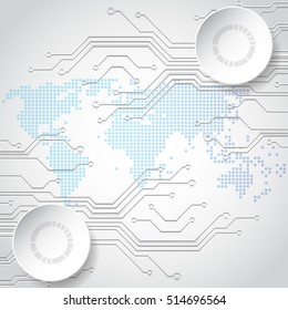 Vector globe on the digital technology background, abstract illustration