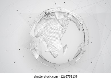 vector globe, planet earth, from dots. concept bigdata, processing and data collection