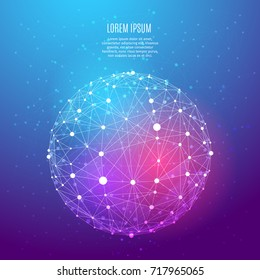 Vector globe wireframe connecting on color background. Low poly Illuminated objects with thin line and dots. Business or technology concept. Blue and purple abstract digital polygonal image