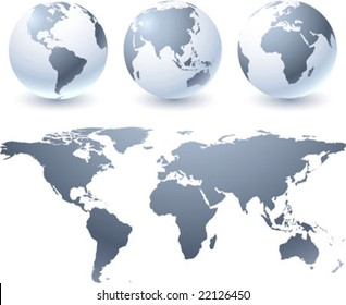 Vector globes and atlas map