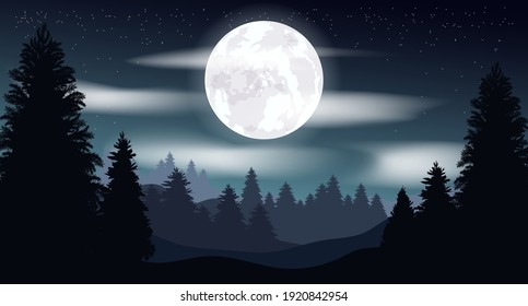 Vector gloomy illustration. Night landscape, moon. Starry sky in the clouds. Night forest.