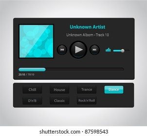 Vector glossy audio player with control navigation panel