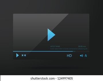 Vector glossy audio, video player
