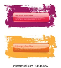 Vector glossy banners on a hand-painted daub backdrops