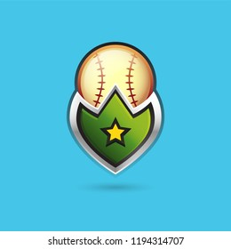 Vector glossy baseball shield icon in green with shadows. Best for web or game design. GUI design for social game.