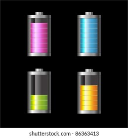 Vector glossy battery set with various loads and colors