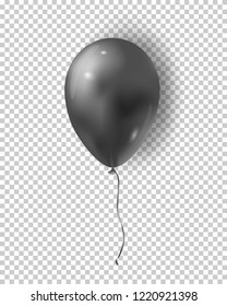 Vector glossy black balloon. Realistic air 3d balloon isolated on transparent background.