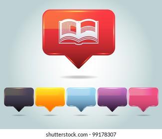 Vector Glossy Book Icon and Multicolored