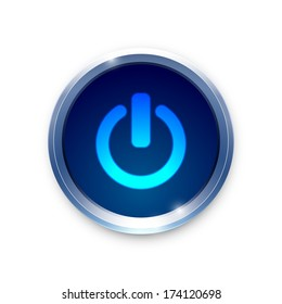 Vector glossy brushed metal blue power button on white background.