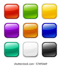 Vector glossy button icon, samples
