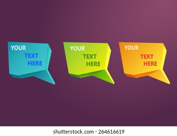 Vector glossy colored origami banners. Set on a dark background