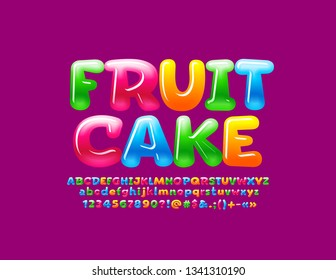 Vector glossy colorful logo Fruit Cake with sweet Alphabet Letters set. Jelly bright Font for Children