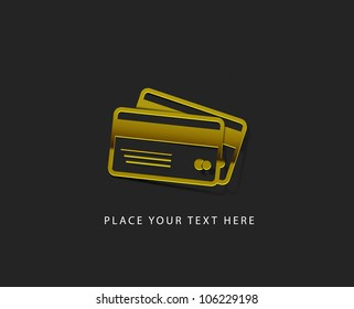 vector glossy credit card web golden icon design element.