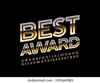 Vector glossy emblem Best Award with Golden Font. Creative Uppercase Alphabet Letters and Numbers