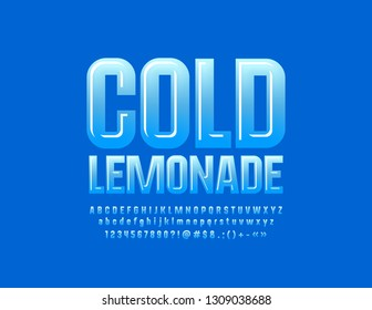 Vector glossy emblem Cold Lemonade with Blue Font. Modern Alphabet Letters, Numbers and Symbols for Children Advertising, Marketing, Promotion.