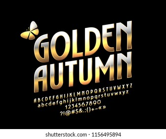 Vector Glossy Emblem Golden Autumn with Butterfly. Metallic Gradient Font. Rotated Exclusive Alphabet Letters, Numbers and Symbols