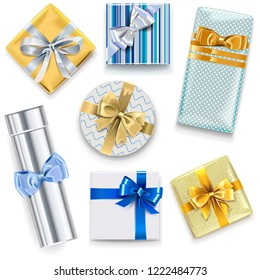 Vector Glossy Gift Boxes Set 2 isolated on white background