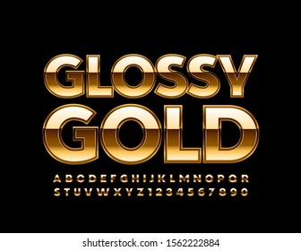 Vector Glossy Gold Font. Luxury Alphabet Letters, Numbers and Symbols.
