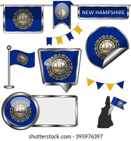 Vector glossy icons of flag of state New Hampshire on white