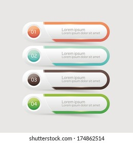 Vector glossy One Two Three Four steps, progress options banners with colorful tags. Vector illustration.