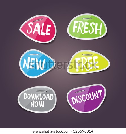 vector glossy paper labels staples sale stock vector royalty free