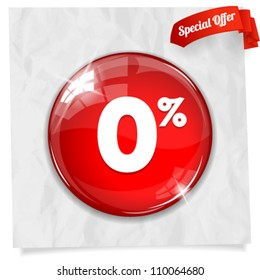 Vector glossy red round 0% button on crumpled paper. Image contains transparency in lights and shadows and can be placed on every surface. 10 EPS