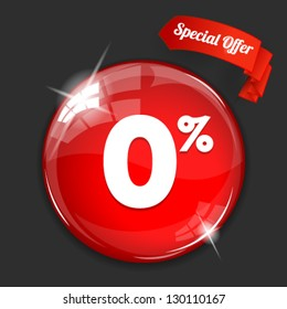 Vector glossy red round 0% button on dark background. Image contains transparency in lights and shadows and can be placed on every surface. 10 EPS