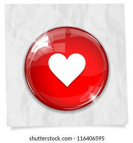 Vector glossy red round heart button on crumpled paper. Image contains transparency in lights and shadows and can be placed on every surface. 10 EPS