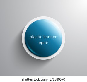 Vector glossy round banner with plastic style for business design