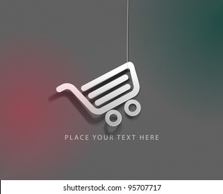 vector glossy shopping web icon design element.