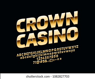 Vector glossy sign Crown Casino. Chic Golden rotated Alphabet Letters, Numbers and Symbols