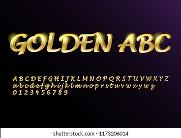 Vector glossy sign Golden ABC. Chic Golden rotated Alphabet Letters, Numbers and Symbols