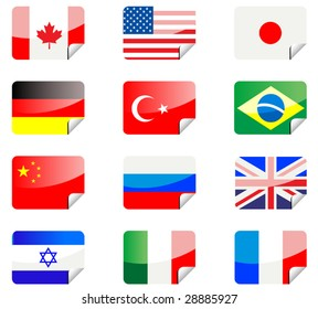 Vector. Glossy stickers with national flags isolated on white