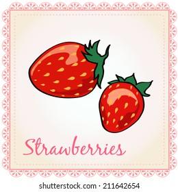 Vector glossy strawberries