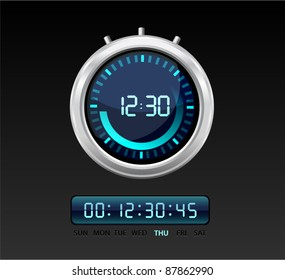 Vector glossy timer with  blue glowing digital numbers