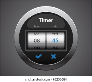 Vector glossy timer with glowing numbers