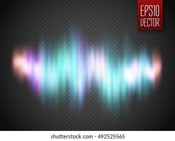 Vector glow colorful sound wave or northern lights isolated.