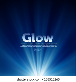 Vector glow on blue background
