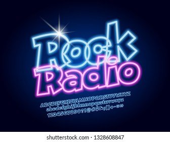 Vector glowing emblem Rock Radio with Neon Font. Blue lighting Alphabet Letters, Numbers and Symbols