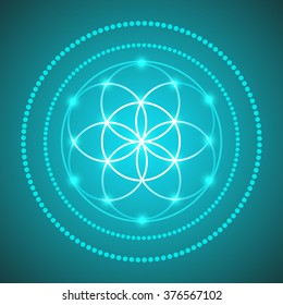 Vector Glowing Flower of Life Symbol