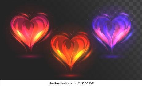 Vector glowing hearts