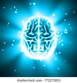 Vector glowing human brain top view close up isolated on abstract background