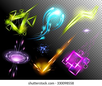 Vector Glowing Light Effect set. Sparkling Efect Design Element Collection. Stars, Planet, Comet, Galaxy, Asteroid isolated on black Background. Vector Illustration